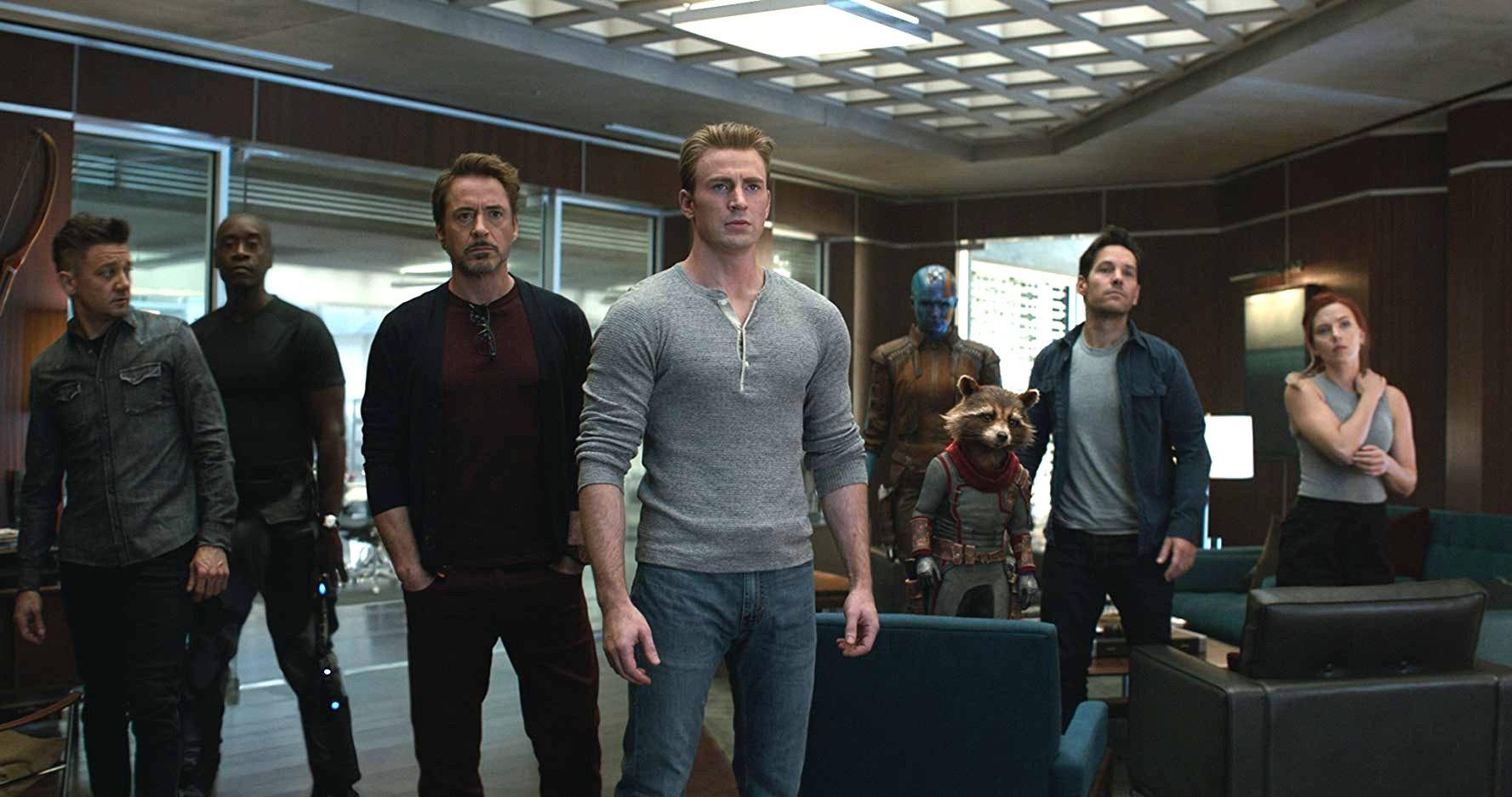 Still of Hawkeye, Rhodey, Iron Man, Captain America, Rocket, Nebula, Ant-Man and Black Widow in 'Avengers: Endgame'
