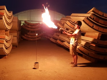 The flamethrower in action.
