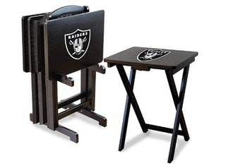 Imperial Officially Licensed NFL Merchandise: Foldable Wood TV Tray Table Set with Stand