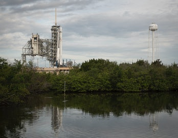 CAPE CANAVERAL, FL - JUNE 03: In this handout provided by the National Aeronautics and Space Administration (NASA), the SpaceX Falcon 9 rocket, with the Dragon spacecraft onboard, is seen at Launch Complex 39A at NASA's Kennedy Space Center on June 3,2017in Cape Canaveral, Florida. Dragon is carrying almost 6,000 pounds ofscienceresearch, crewsuppliesand hardware to the International Space Station in support of the Expedition 52 and 53 crew members. The unpressurized trunk of the spacecraft also will transport solar panels, tools for Earth-observation and equipment to study neutron stars. This will be the 100th launch, and sixth SpaceX launch, from this pad. Previous launches include 11 Apollo flights, the launch of the unmanned Skylab in 1973, 82 shuttle flights and five SpaceX launches. (Photo by Bill Ingalls/NASA via Getty Images)
