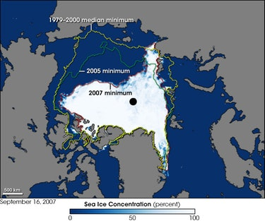 ionThis image shows the Arctic as observed by the Advanced Microwave Scanning Radiometer for EOS (AMSR-E) aboard NASA's Aqua satellite on September 16, 2007. The image shows a record sea ice minimum in the Arctic.