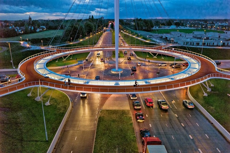 An elevated roundabout in the Netherlands, just for bicycles.