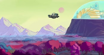Rick flies what actually looks like Jerry to some domed city.