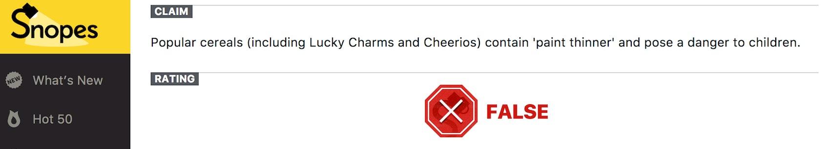 Snopes Lucky Charms Cheerios debunking