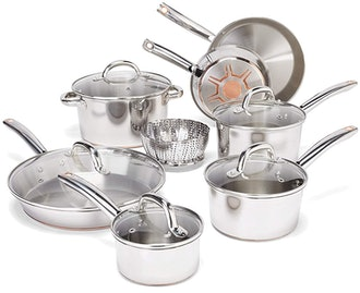 T-fal Stainless Steel with Copper Bottom Cookware Set