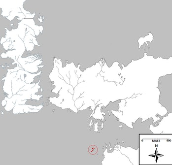 The Isle of Naath on the 'Game of Thrones' map.