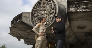 J.J. Abrams directing Daisy Ridley on the set of 'Star Wars: The Force Awakens'.