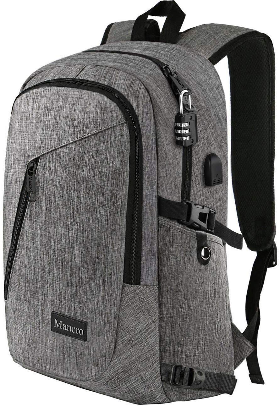 """Laptop Backpack, Travel Computer Bag for Women & Men, Anti Theft Water Resistant College School Bookbag, Slim Business Backpack w/ USB Charging Port Fits UNDER 17"""" Laptop & Notebook by Mancro (Grey)"""