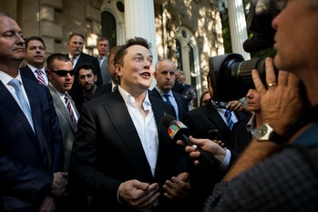 Elon Musk in 2014, announcing the construction of the Gigafactory that will form a key part of Model...