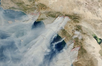 NASA satellite images California wildfire