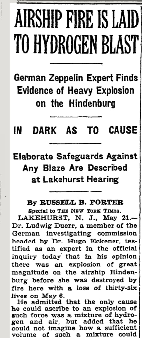 A New York Times report on the cause of the Hindenburg Disaster.