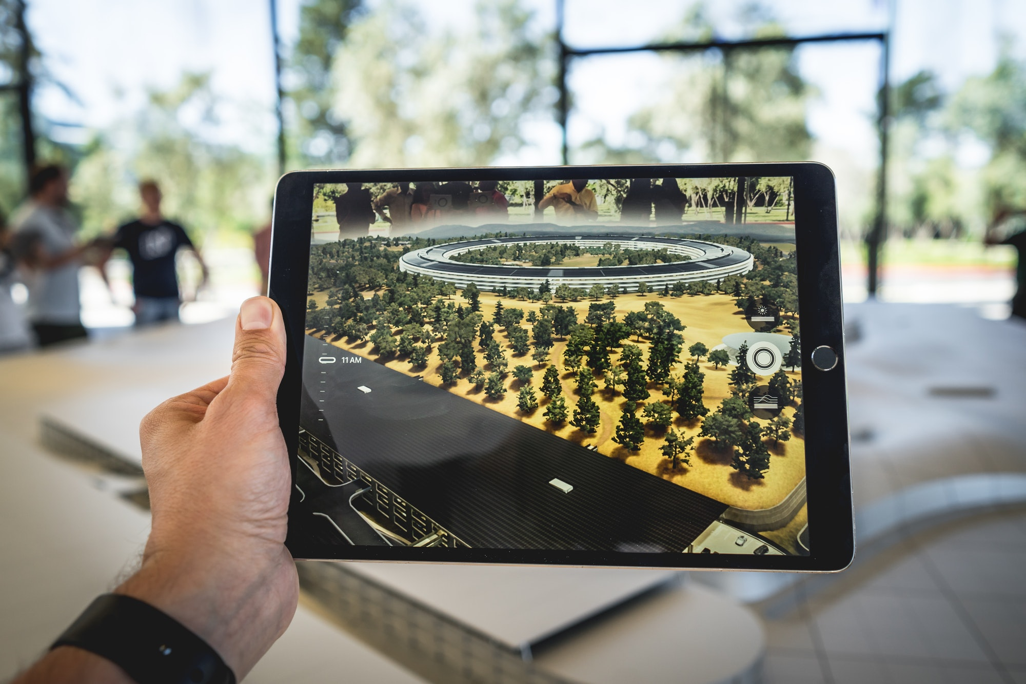 An iPad using augmented reality.