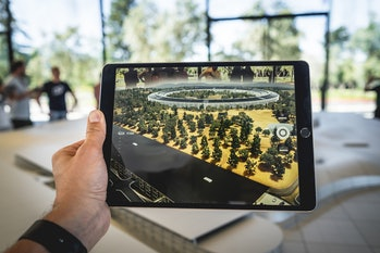 An iPad using augmented reality.
