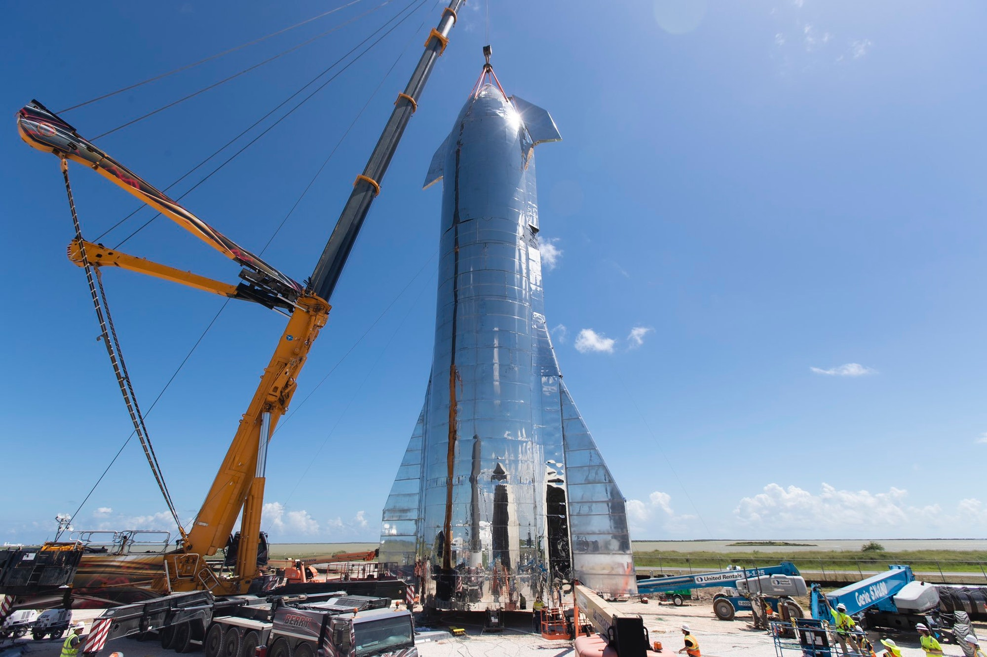 """""""Starship halves being joined."""" Elon Musk shared this photo on his Twitter account on Friday, September 27, 2019. More information is expected about the project on Saturday night, September 28, 2019."""
