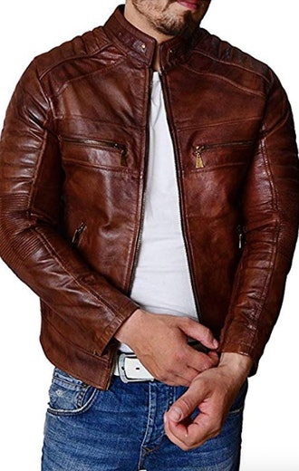 Trailblazerzz Mens Leather Jackets Motorcycle Bomber Biker Real Lambskin Leather Jacket for Men