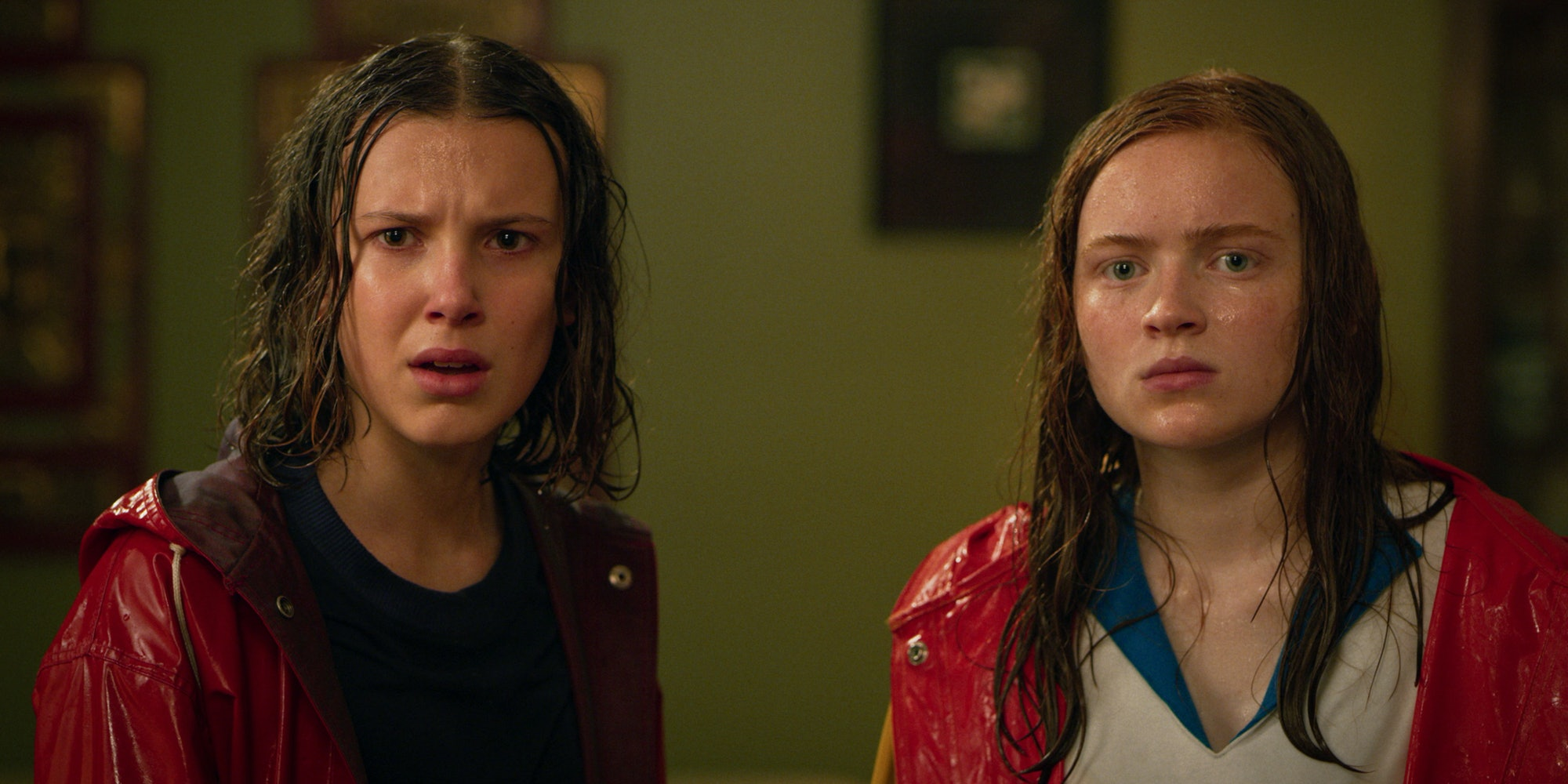 Millie Bobby Brown and Sadie Sink in Stranger Things