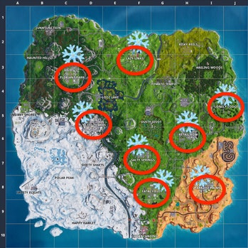 Snowflake locations in 'Fortnite' right now.