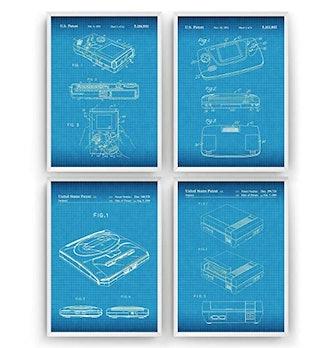 Gaming Patent Prints Art - Set Of 4 - Gamer Poster Gift Vintage Blueprint Retro