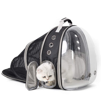SOURCER Transparent Pet Cat Puppy Carrier Backpack, Space Capsule Bubble Shoulder Backpack for Hiking and Traveling