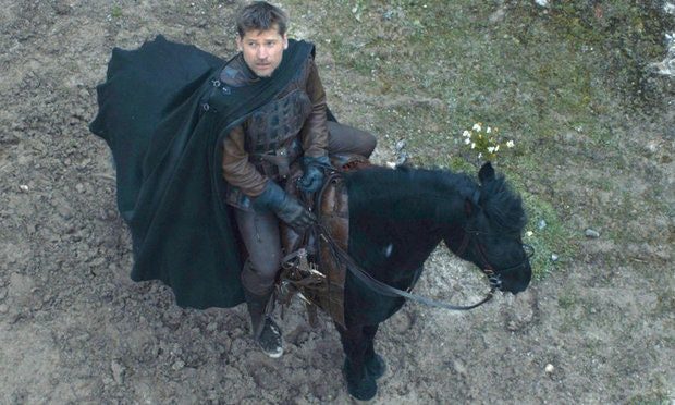Jaime leaves King's Landing just as snow begins to fall, thankfully with Widow's Wail in tow.