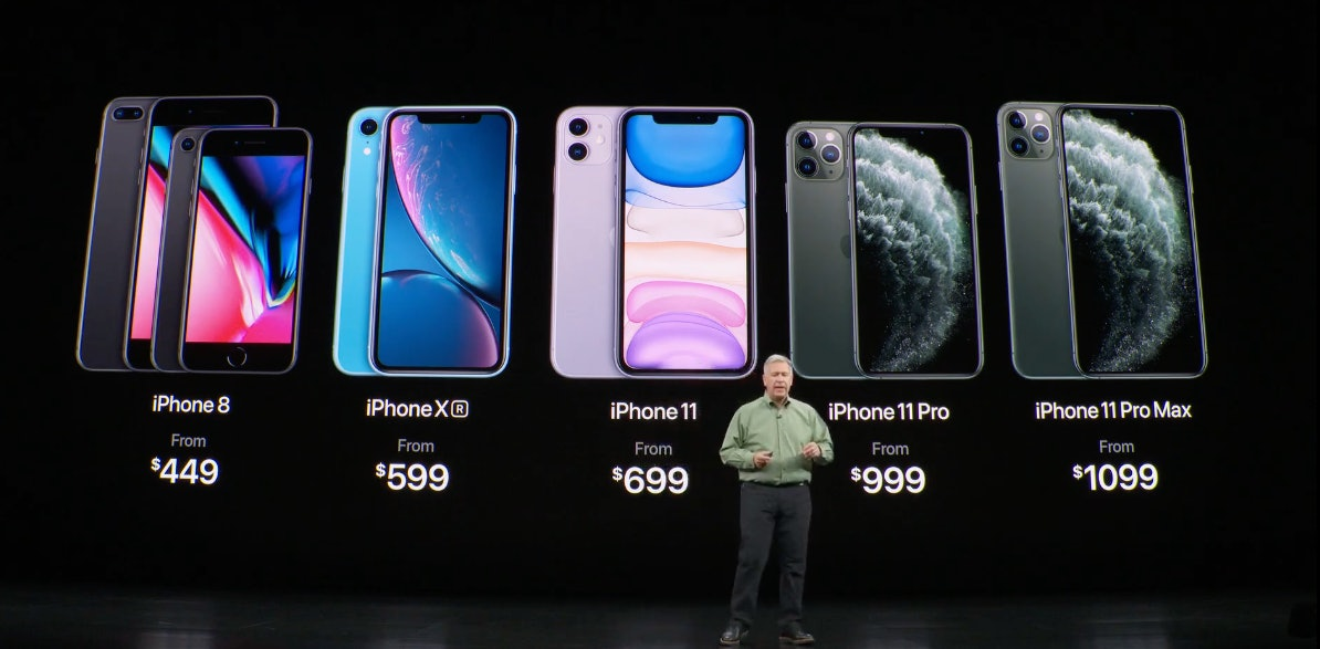 Apple's full line of in-production iPhones and their prices, as revealed on Tuesday, September 10, 2019.