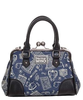Doctor Who Scribble Art Kiss Lock Satchel Handbag