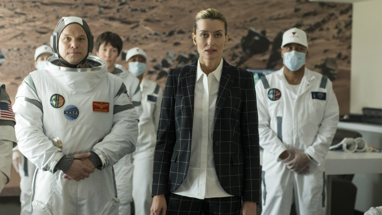 Natascha McElhone as Laz Ingram, the CEO of commercial launch provider Vista in 'The First'.