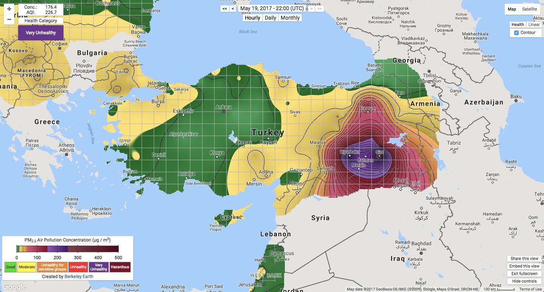 Turkey air pollution map PM2.5 Berkeley Earth