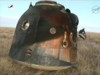 A view of the Soyuz descent module after touching down in Kazakhstan.