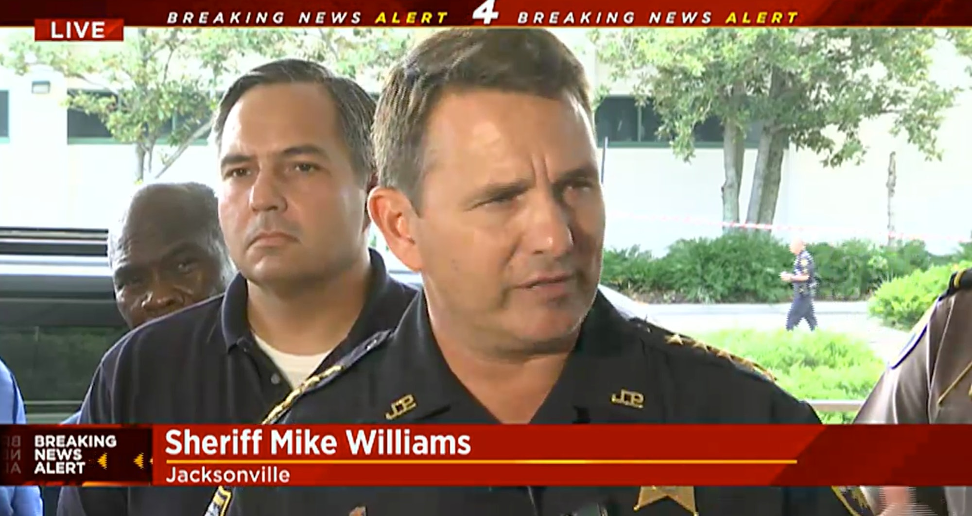 Seen here in a live-steam from the WJXT website, Sheriff Mike Williams of the Jacksonville Sheriff's Office informs the media in an afternoon press conference that the suspect was deceased.