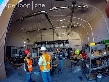 The Hyperloop One test track, or DevLoop, in the Nevada desert.