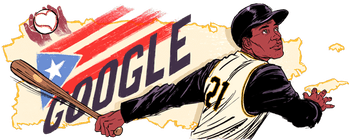 The Google Doodle honoring Roberto Clemente.