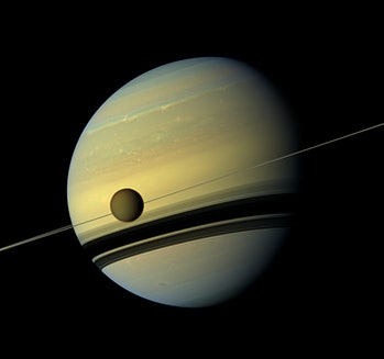 Saturn and Titan, hurtling through the void together