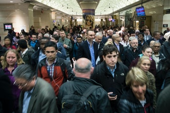 NEW YORK, NY - APRIL 4: Evening commuters make their way toward a New Jersey Transit train platform at Penn Station April 4,2017in New York City. New Jersey Transit,Amtrakand Long Island Rail Road trains were all running on limited schedules Tuesday evening. Following a derailment yesterday, eight out of the 21 tracks are out of service. (Photo by Drew Angerer/Getty Images)