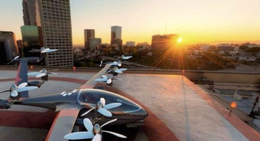 An artist's impression of what Uber's flying car may look like, the Joby S2.