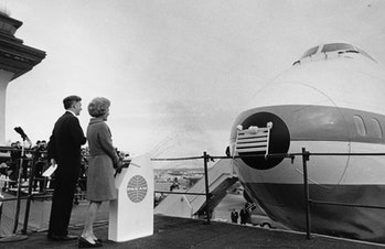 First Lady Pat Nixon ushered in the era of jumbo jets by christening the first commercial 747 in 1970.