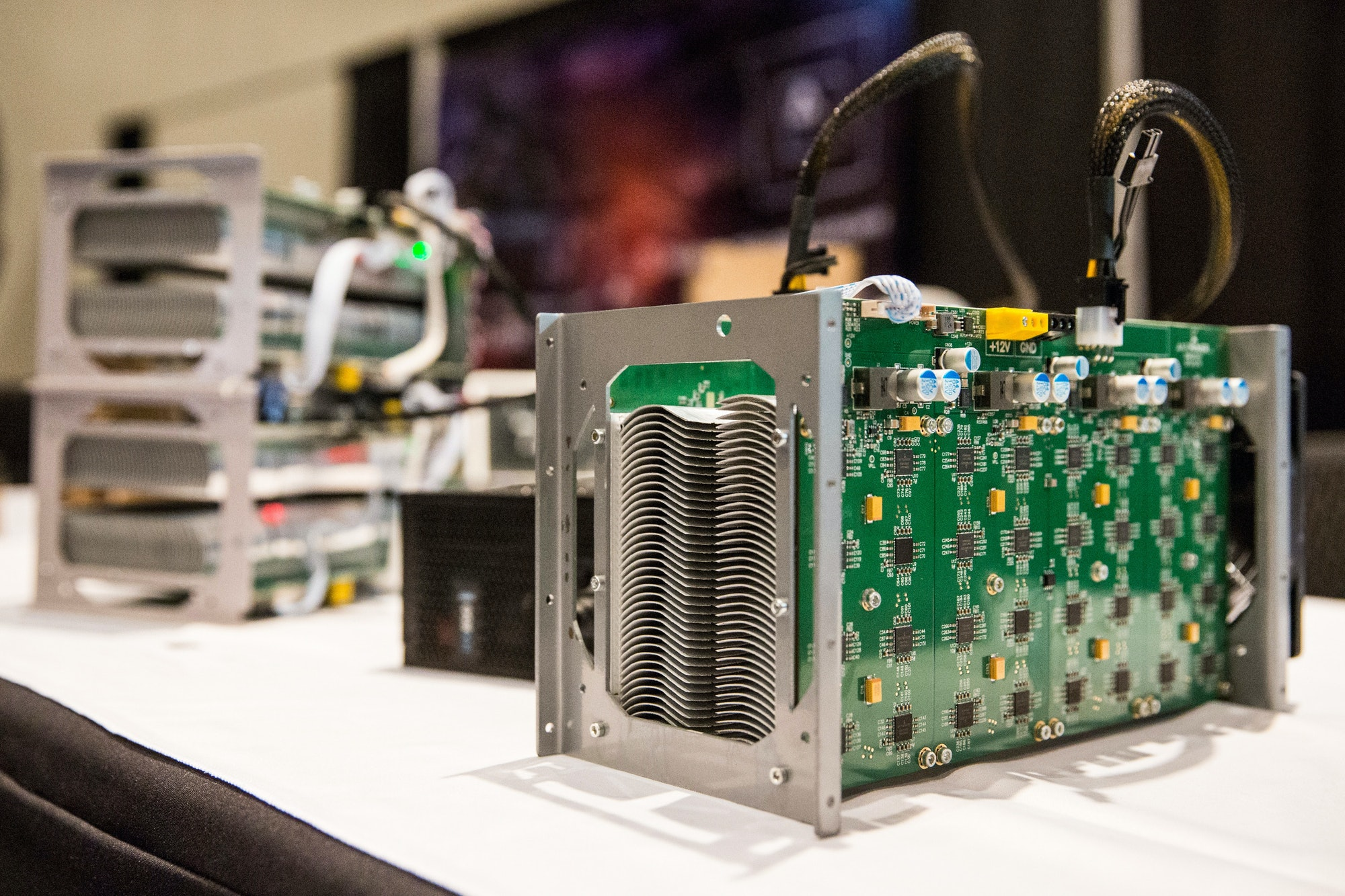 NEW YORK, NY - APRIL 07: Bitcoin mining hardware is displayed at a Bitcoin conference on at the Javits Center April 7,2014in New York City. Topics included market places to trade bitcoin, mining hardware to harvest bitcoins and digital wallets to store bitcoins. Bitcoin is one of the most popular of over one hundred digital currencies that have recently come into popularity. (Photo by Andrew Burton/Getty Images)