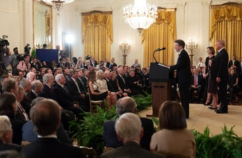 Brett Kavanaugh at the White House on July 9, 2018 after President Donald Trump announced him as the...