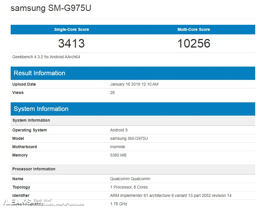 samsung s10 plus geekbench score leak