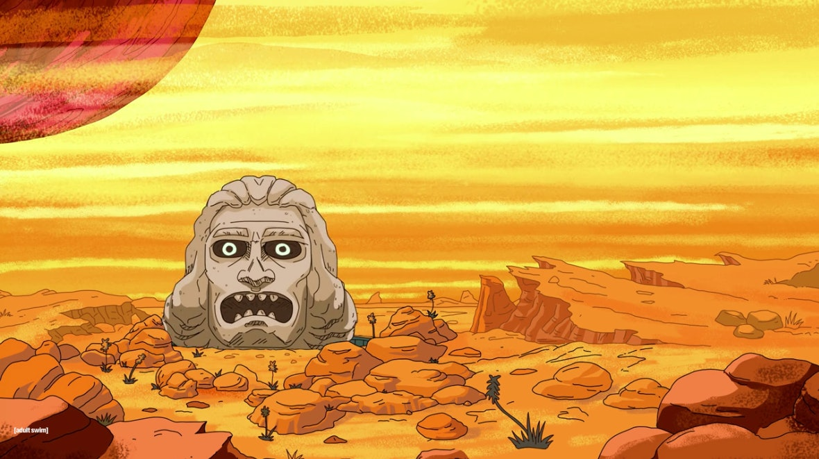 """On the planet Gazorpazorp, this head flies around """"dumping loads"""" in a crass imitation of a similar craft in the movie 'Zardoz' (1974)."""