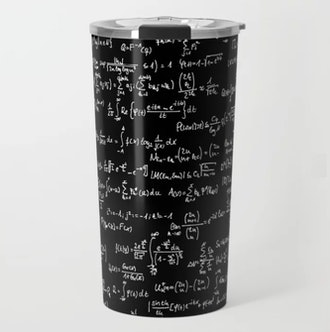 Math Equations // Black Travel Mug