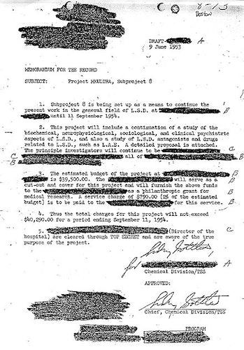 A declassified document describing MK Ultra.