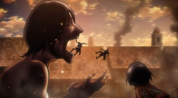In the Battle of Trost District, a soldier throws his friend out of a Titan's mouth before getting devoured himself.