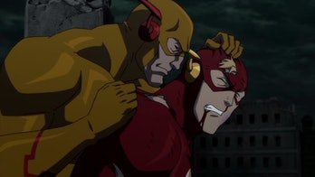 The Flash gets harassed by the Reverse-Flash in 'The Flashpoint Paradox'.