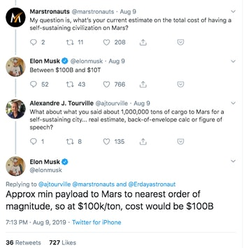 Musk's prediction for pricing.