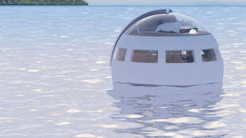 A floating hotel pod.