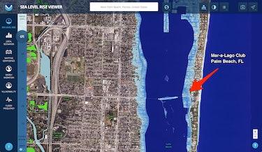 mar a lago trump florida sea level rise projection map