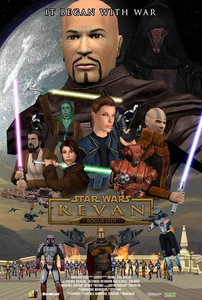 A poster for the upcoming trilogy of films about Revan in the Mandalorian Wars.