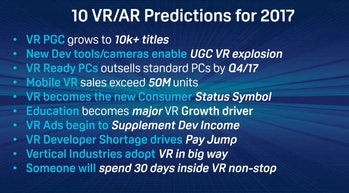 Graylin's 2017 predictions for VR and AR.