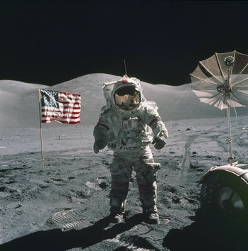"""Apollo 17 Mission Commander Eugene A. Cernan remarked that the astronauts were leaving as they came, """"with peace and hope for all mankind,"""" after this mission in December 1972."""
